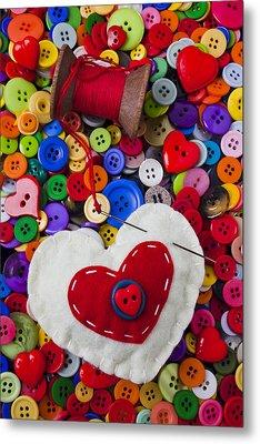 Heart Pushpin Chusion  Metal Print by Garry Gay
