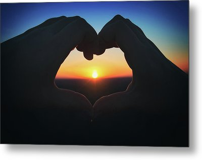 Heart Shaped Hand Silhouette - Sunset At Lapham Peak - Wisconsin Metal Print by Jennifer Rondinelli Reilly - Fine Art Photography