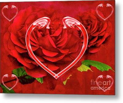 Hearts And Roses Metal Print by Steve Purnell
