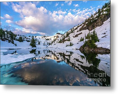 Heather Meadows Blue Ice Reflection Cloudscape Metal Print