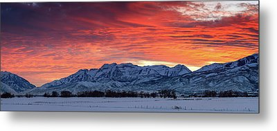 Metal Print featuring the photograph Heber Valley Panoramic Winter Sunset. by Johnny Adolphson
