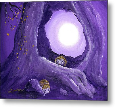 Hedgehogs In Purple Moonlight Metal Print