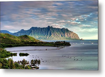 He'eia Fish Pond And Kualoa Metal Print by Dan McManus