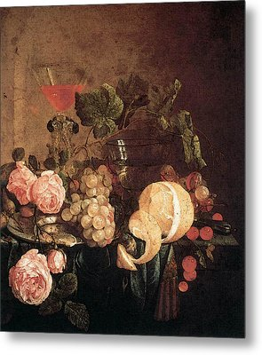 Heem Jan Davidsz De Still Life With Flowers And Fruit Metal Print