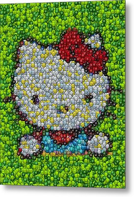 Hello Kitty Mm Candy Mosaic Metal Print by Paul Van Scott