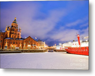 Helsinki By Night Metal Print by Delphimages Photo Creations