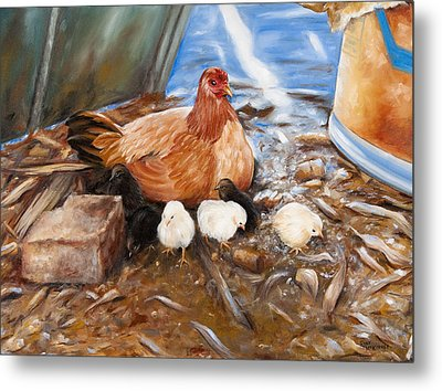 Hen And Biddies Metal Print