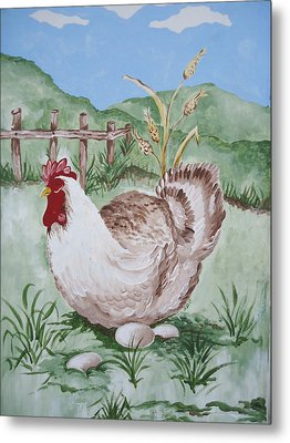 Hen And Eggs Metal Print