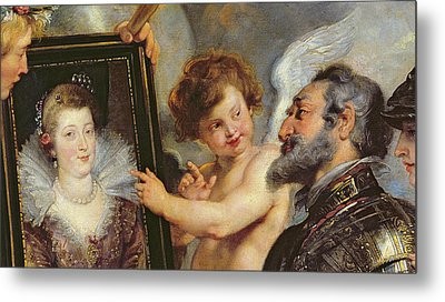 Henri Iv Receiving The Portrait Of Marie De Medici Metal Print by Rubens