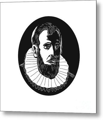 Henry Hudson Explorer Woodcut Metal Print
