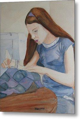 Her First Quilt Metal Print