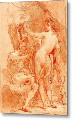 Hercules And Omphale Metal Print by Pg Reproductions