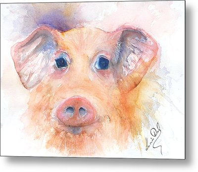 Here Piggy Metal Print by Lucia Del