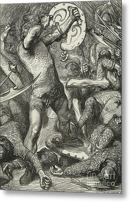 Hereward Cutting His Way Through The Norman Host Metal Print