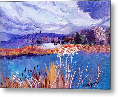 Metal Print featuring the painting Herman's Pond by Betty Pieper