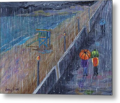 Metal Print featuring the painting Hermosa Beach Rain by Jamie Frier