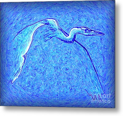 Metal Print featuring the photograph Heron In Flight by Walt Foegelle
