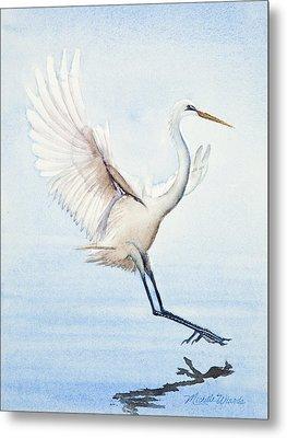 Heron Landing Watercolor Metal Print by Michelle Wiarda