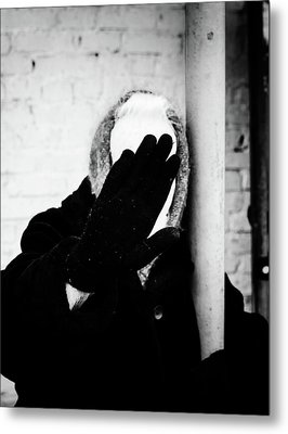 Metal Print featuring the photograph Hidden Woman In Black Fur by John Williams