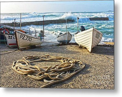 Metal Print featuring the photograph High Tide In Sennen Cove Cornwall by Terri Waters