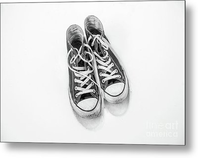 High Tops In Snow Black And White Metal Print