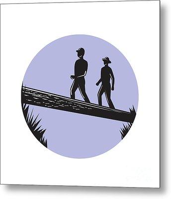 Hikers Crossing Single Log Bridge Oval Woodcut Metal Print by Aloysius Patrimonio