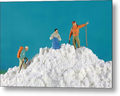 Hiking On Flour Snow Mountain Metal Print by Paul Ge