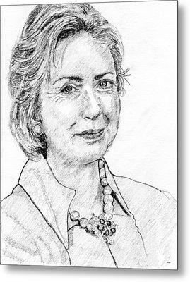 Hillary Clinton Pencil Portrait Metal Print by Rom Galicia
