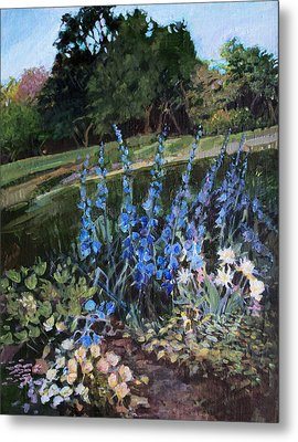 Metal Print featuring the painting Hillside Garden by Diane Ursin