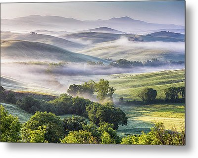 Hilly Tuscany Valley At Morning Metal Print by Evgeni Dinev