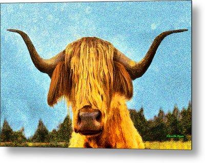 Hippie Cow - Da Metal Print