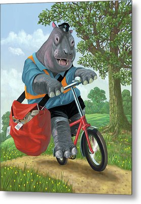 Hippo Post Man On Cycle Metal Print by Martin Davey