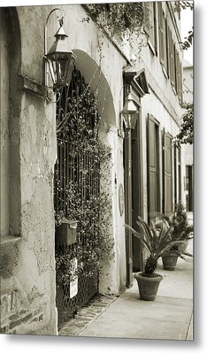 Historic Home Wrought Iron Gate Charleston Sepia Metal Print by Dustin K Ryan