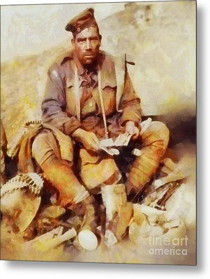 History In Color. Australian Soldier Pvt Barney Hines Wwi Metal Print by Sarah Kirk