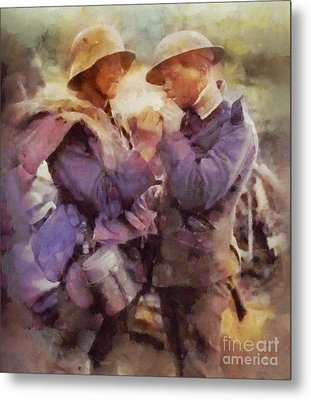 History In Color. Wwi Truce In The Trenches Metal Print by Sarah Kirk