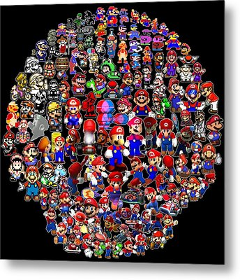 History Of Mario Mosaic Metal Print by Paul Van Scott