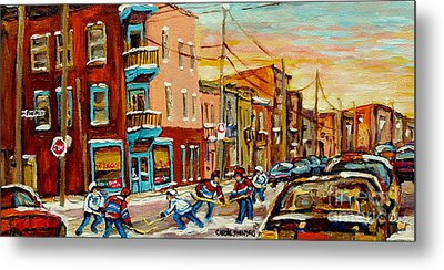 Hockey Game Fairmount And Clark Wilensky's Diner Metal Print by Carole Spandau