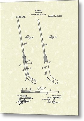 Hockey Stick Mcniece 1916 Patent Art Metal Print
