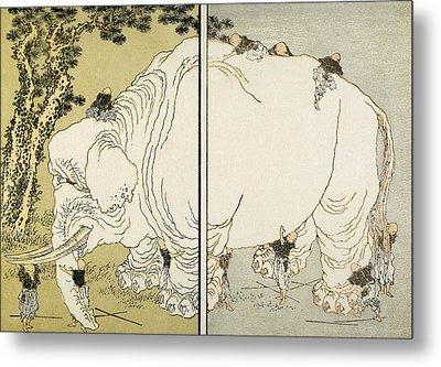 Hokusai: Elephant Metal Print by Granger