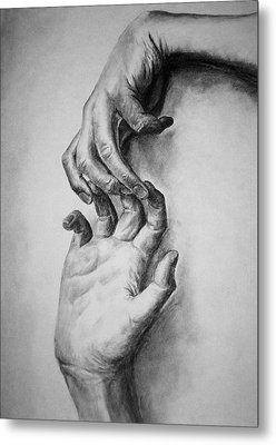 Metal Print featuring the drawing Hold On by Rachel Hames