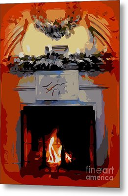 Holiday Fireplace #1 Metal Print by Ed Weidman