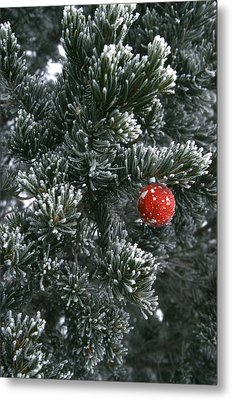 Holiday Ornament Hanging On Snow Dusted Metal Print by Kate Thompson
