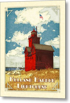Holland Harbor Lighthouse Metal Print by Antoinette Houtman