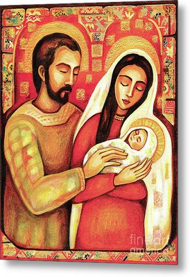 Metal Print featuring the painting Holy Family by Eva Campbell