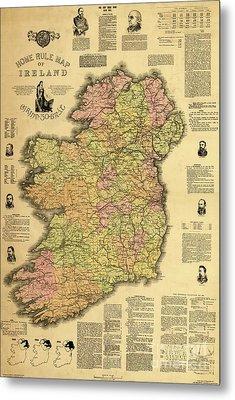 Home Rule Map Of Ireland, 1893 Metal Print