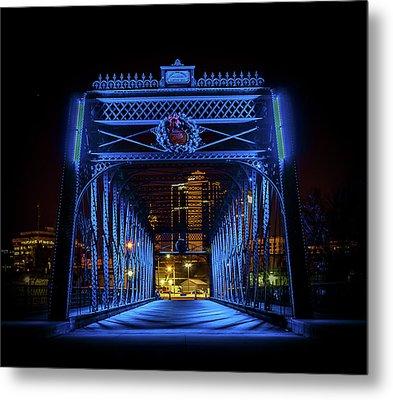 Homeless Winter Night On Wells Street Bridge - Fort Wayne Indiana Metal Print