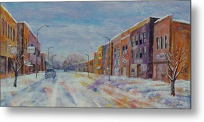 Metal Print featuring the painting Hometown Winter by Susan DeLain
