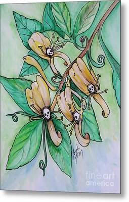 Honeysuckle Skulls Metal Print