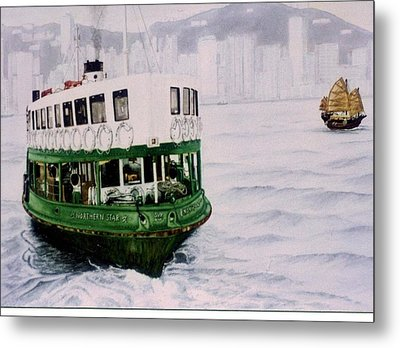 Hong Kong Ferry Metal Print