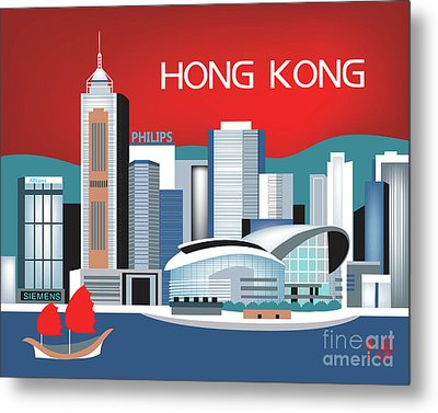 Hong Kong Horizontal Skyline Metal Print by Karen Young